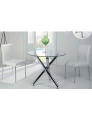 Mesa redonda moderna pie de acero cromo y tapa cristal