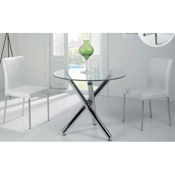 Mesa redonda moderna pie de acero cromo y tapa cristal for Mesas redondas de cristal y acero