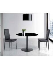 Mesa redonda moderna con tapa cristal color negro