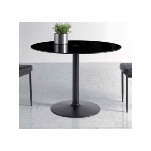 Mesa redonda moderna con tapa cristal color negro y pie negro for Mesa cristal moderna