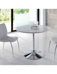 Mesa redonda pie de acero cromo y tapa blanco