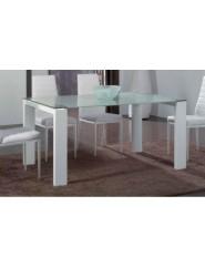 Mesa de comedor moderna con patas en blanco brillo y cristal