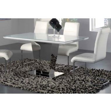 Mesa de comedor moderna en blanco brillo y acero pie for Mesa comedor blanco brillo