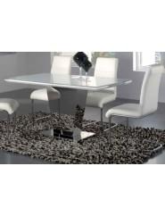 Mesa de comedor moderna en blanco brillo y acero