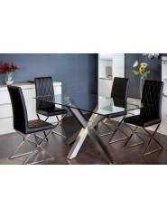 Mesa moderna con  pie de acero pulido y tapa de cristal