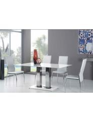 Mesa pie de acero y tapa de cristal blanco puro
