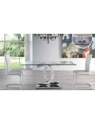 Mesa moderna con  pie de acero y tapa de cristal