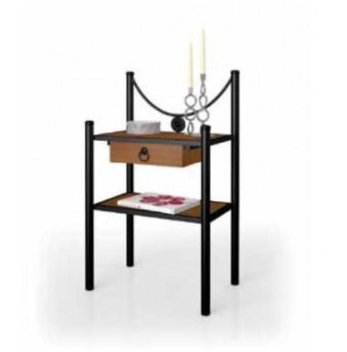 Mesilla de dormitorio de madera y forja disponible en - Mesillas de noche de forja ...