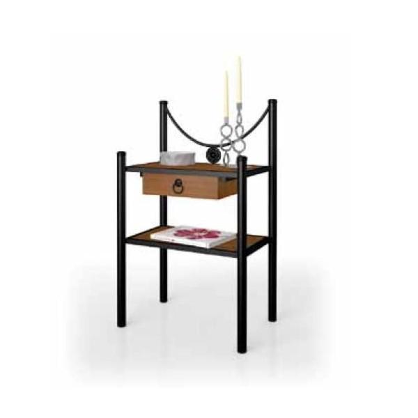 Mesilla de dormitorio de madera y forja disponible en for Mesillas de forja ikea