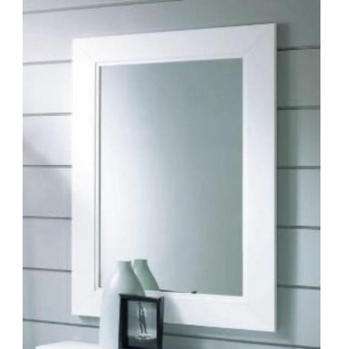 Espejo rectangular con marco de madera.