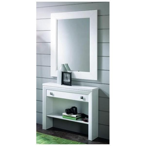 Espejo rectangular con marco de madera for Espejo rectangular con marco de madera