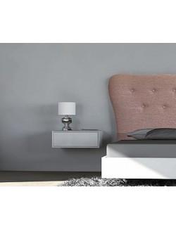 Mesilla moderna para colgar en la pared lacada en blanco con un cajón.