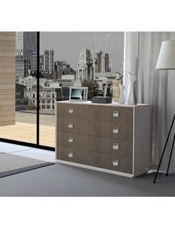 Mueble comoda moderna de madera lacada combinada con roble.