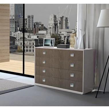 Mueble comoda moderna de madera lacada combinada con roble for Comoda mueble