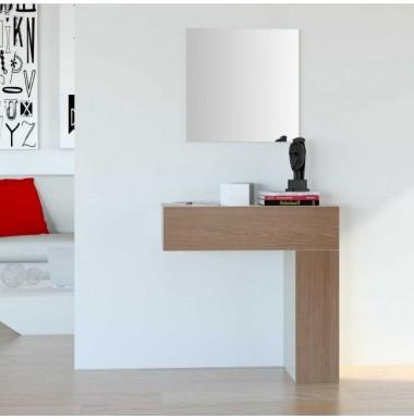 Mueble de recibidor moderno de madera lacada y roble natural para colgar en la pared.