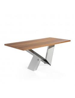 Mesa de comedor moderna de madera de nogal y pie de acero inoxidable.