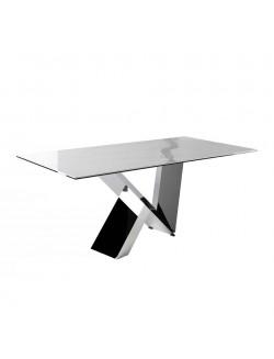 Mesa de comedor moderna con tapa de mármol porcelánico y pie de acero inoxidable.
