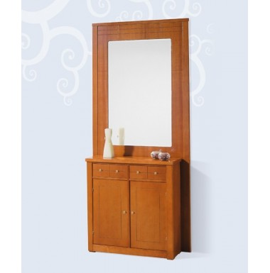 Mueble de poco fondo con espejo mural para recibidor.
