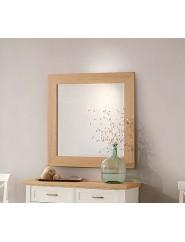 Espejo cuadrado de madera de roble o lacado blanco.