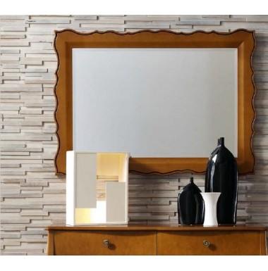 Espejo clásico de madera lacada en blanco, cerezo o nogal.