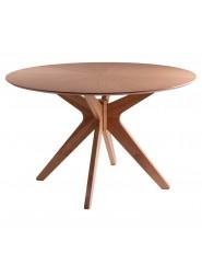 Mesa de comedor moderna redonda con pie central en roble o nogal.