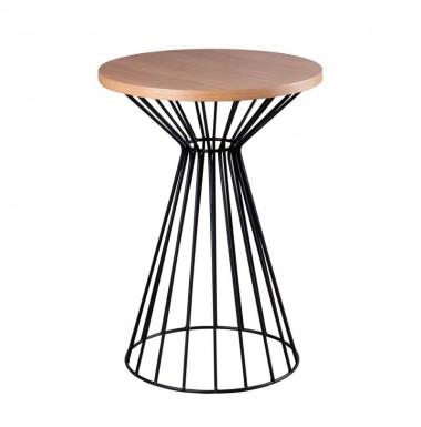 Mesa de centro redonda pequeña en roble, nogal o blanco con pie de metal en negro o blanco.