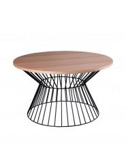 Mesa de centro redonda en roble, nogal o blanco con pie de metal en negro o blanco.