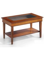 Mesa de centro pequeña elevable rectangular de madera.