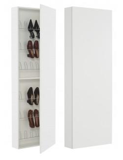 Mueble zapatero alto de pared con puerta de espejo o de madera poco fondo.