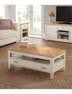 Mesa de centro elevable lacada en blanco y tablero de roble con un cajón.