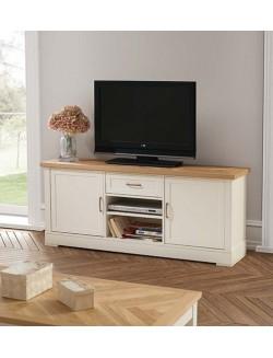 Mesa de televisión lacada en blanco y tapa roble natural con dos puertas y un cajón.