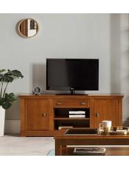 Mesa de televisión con dos puertas y un cajón.