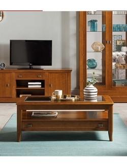 Mesa de centro elevable lacada en blanco, cerezo o nogal y tablero de cristal o madera.