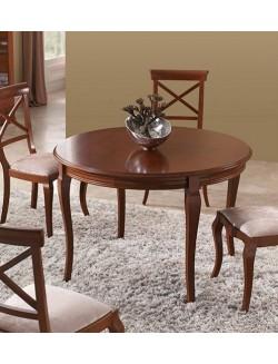 Mesa de comedor extensible redonda u ovalada lacada en blanco, cerezo o nogal.