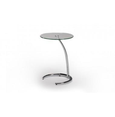 Mesa de rincón con tapa de cristal y estructura de acero cromado.