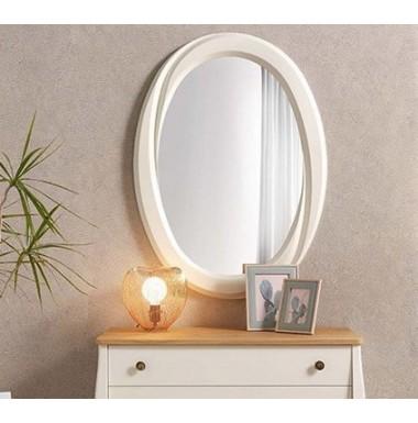 Espejo ovalado de madera en cerezo, nogal o lacado blanco.