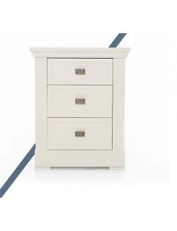 Mesilla de dormitorio con tres cajones de madera lacada blanco, cerezo o nogal.