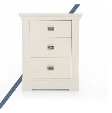 Mesilla de dormitorio con tres cajones de madera cerezo o nogal.