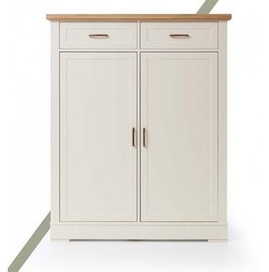 Mueble zapatero con puertas y cajones lacado blanco y madera de roble.