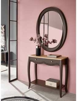 Mueble consola de recibidor lacado gris oscuro o blanco y tapa de madera de roble.