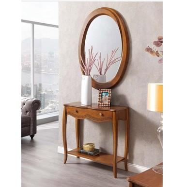 Mueble consola clásica de recibidor de madera en cerezo, nogal o blanco.