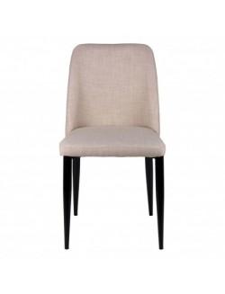 Silla con asiento y respaldo tapizado en color gris o beige, estructura de acero y patas negro.