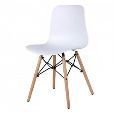 Silla estilo nórdico fabricada en polipropileno color blanco, gris o mostaza y patas de madera de haya.