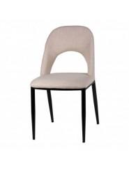 Silla de asiento y respaldo tapizado en color gris o beige, estructura  y patas de acero negro.