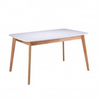 Mesa extensible pequeña de comedor o cocina lacada blanco y patas de madera de roble.