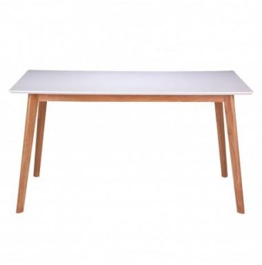 Mesa fija pequeña de comedor o cocina lacada blanco y patas de madera de roble.
