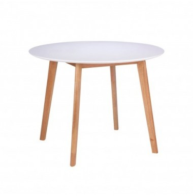 Mesa redonda fija de comedor o cocina lacada blanco y patas en color roble.