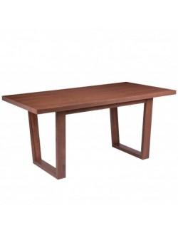 Mesa de comedor fija de madera rectángular en color nogal.