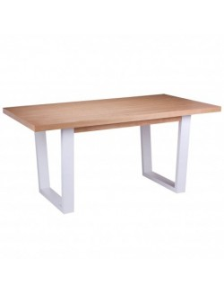 Mesa de comedor fija de madera rectángular en color roble natural y patas blanco.