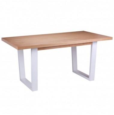 Mesa de comedor fija de madera rectángular en color roble natural y patas blanco.